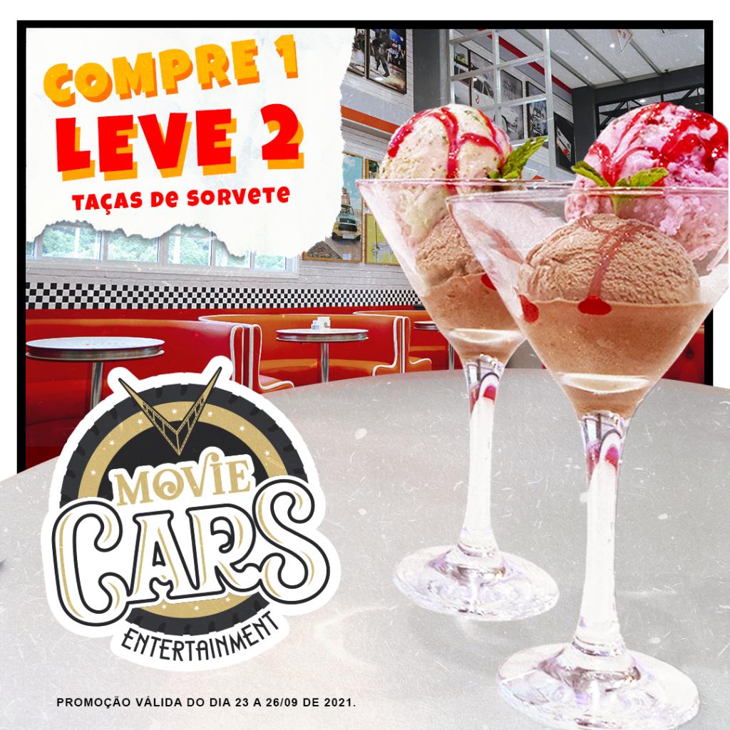 arte promoção especial compre um leve duas taças de sorvete no dia do sorvete no movie cars em foz